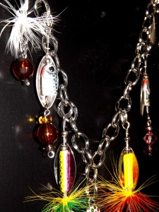 Fishing Lure Necklace closeup