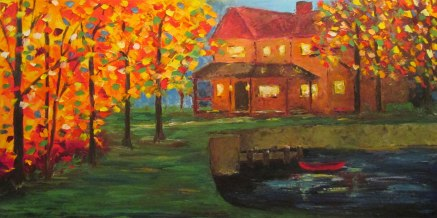 Oil Palette Knife Painting of a house by a lake with a canoe.
