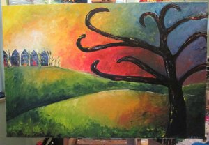 Oil painting of a tree in the foreground and houses in the background